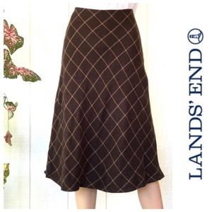 Lands' End Brown Mustard Plaid Wool Blend Skirt